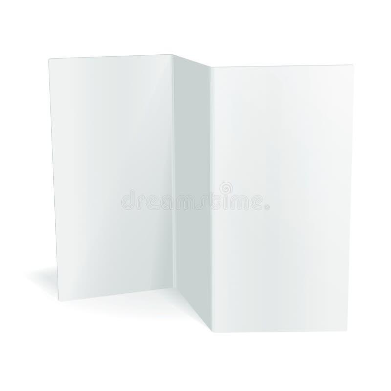 Dreifachgefaltete Broschürenschablone des leeren weißen Vektors vektor abbildung