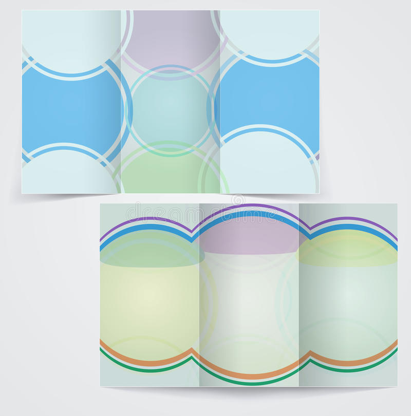 Dreifachgefaltete Geschäftsbroschürenschablone, vector blaues f lizenzfreie abbildung
