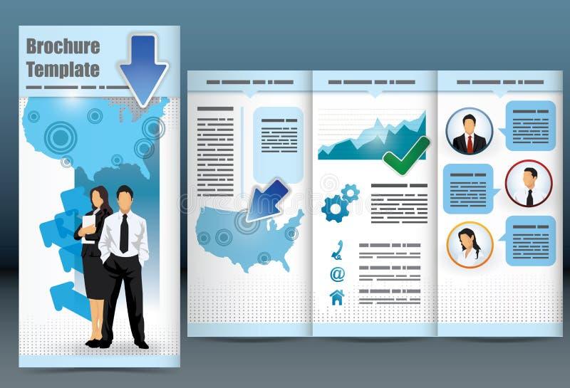 Dreifachgefaltete Geschäftsbroschüreschablone lizenzfreie abbildung
