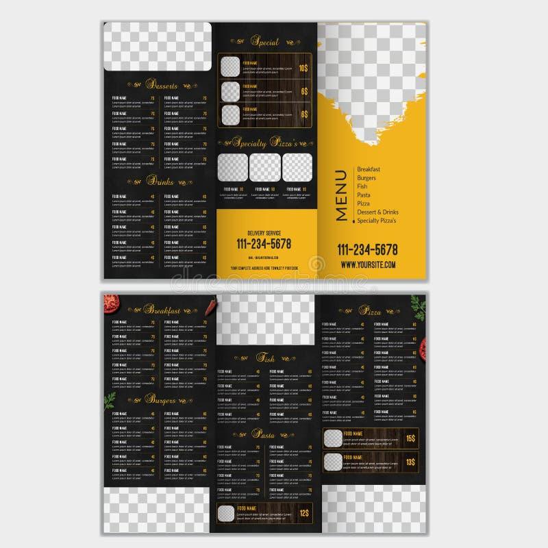 Dreifachgefaltete Nahrungsmittelmenü-Broschüren-Schablone vektor abbildung