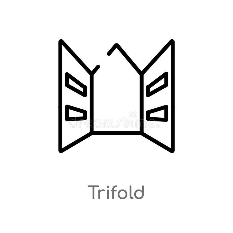dreifachgefaltete Vektorikone des Entwurfs lokalisiertes schwarzes einfaches Linienelementillustration vom Geschichtskonzept edit lizenzfreie abbildung