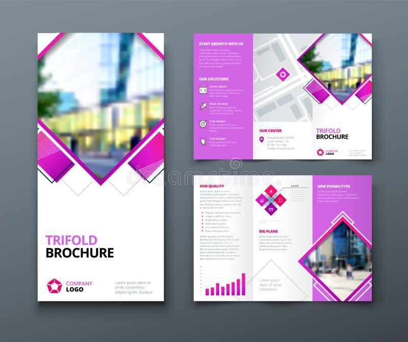 Dreifachgefalteter Broschüren-Entwurf Firmenkundengeschäftschablone für dreifachgefalteten Flieger mit Rautenquadrat formt lizenzfreie abbildung