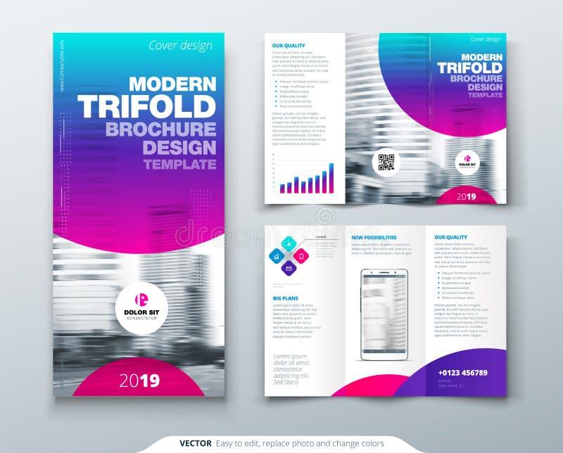 Dreifachgefalteter Broschüren-Entwurf Kühle Geschäftsschablone für dreifachgefalteten Flieger Plan mit modernem Kreisfoto und -zu lizenzfreie abbildung