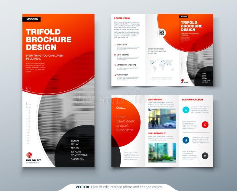 Dreifachgefalteter Broschüren-Entwurf Rote Geschäftsschablone für dreifachgefalteten Flieger Plan mit modernem Kreisfoto und -zus stock abbildung