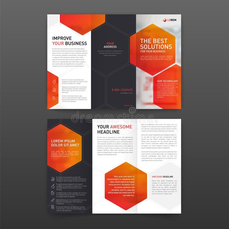 Dreifachgefalteter Plan Schablone der pharmazeutischen Broschüre mit den Ikonen eingestellt stock abbildung