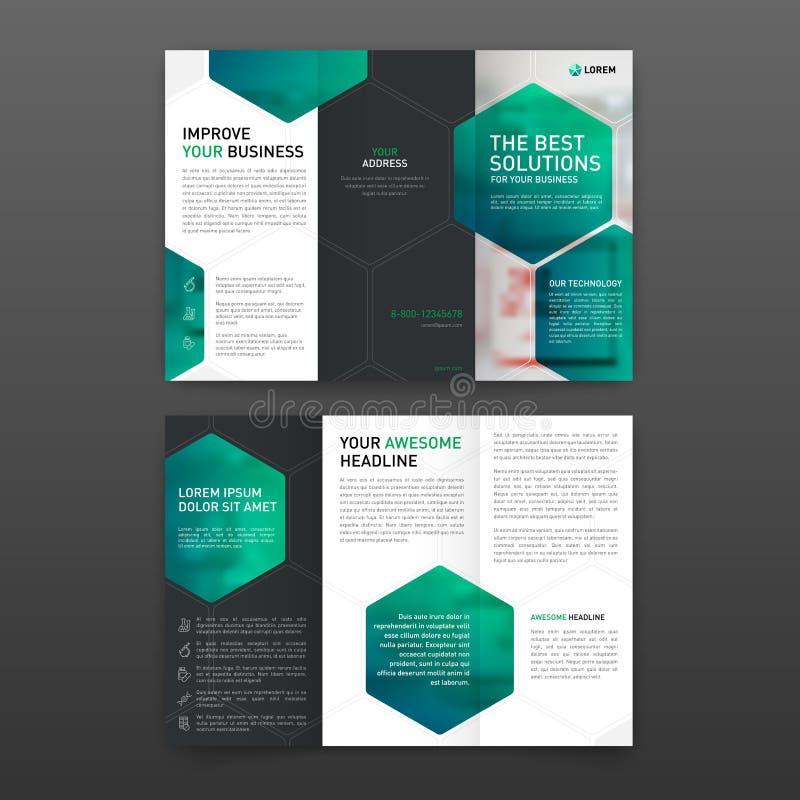 Dreifachgefalteter Plan Schablone der pharmazeutischen Broschüre mit Ikonen vektor abbildung