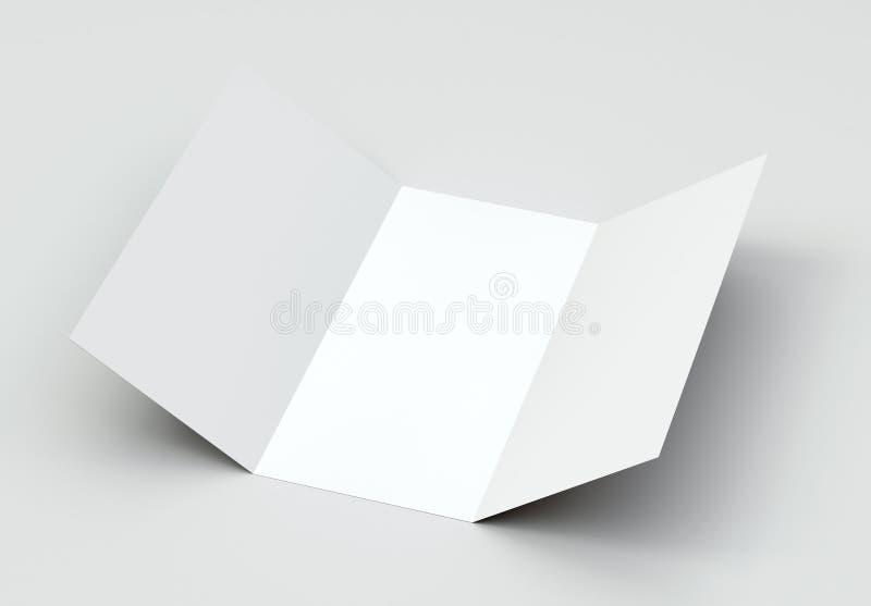Dreifachgefaltetes Modell der Broschüren-A4 auf grauem Hintergrund stockfoto