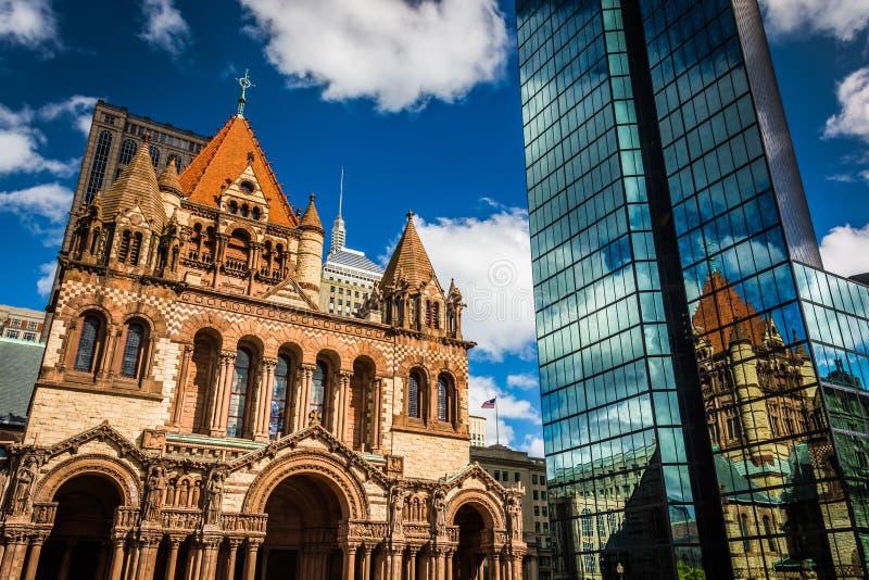 Dreifaltigkeitskirche und John Hancock Building in Boston, Massachu lizenzfreies stockbild