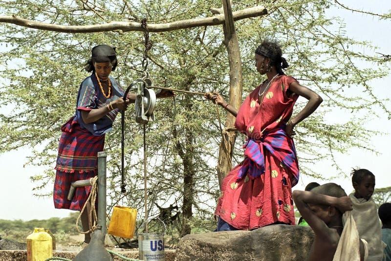 Dreigend hongersnood en gebrek aan water, Ethiopië royalty-vrije stock foto