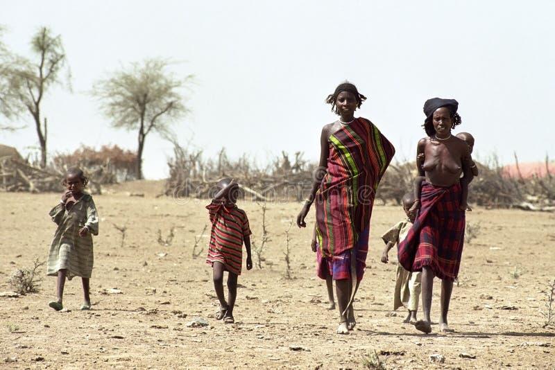 Dreigende hongersnood door klimaatverandering, Ethiopië stock foto's