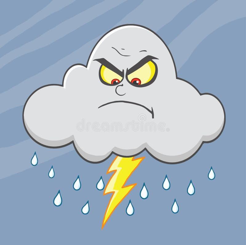 Dreigende wolk met Bliksem en Regenbeeldverhaalkarakter royalty-vrije illustratie