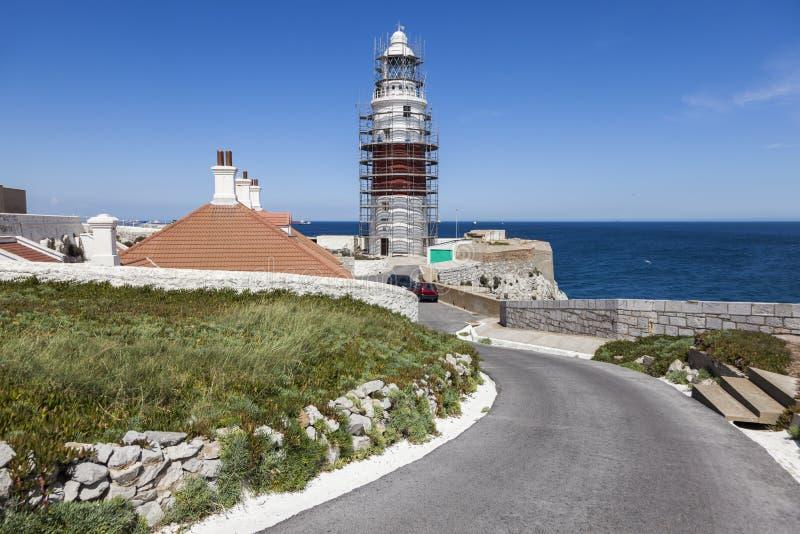 Dreiheits-Leuchtturm Europa-Punkt-Leuchtturm in Gibraltar stockbilder