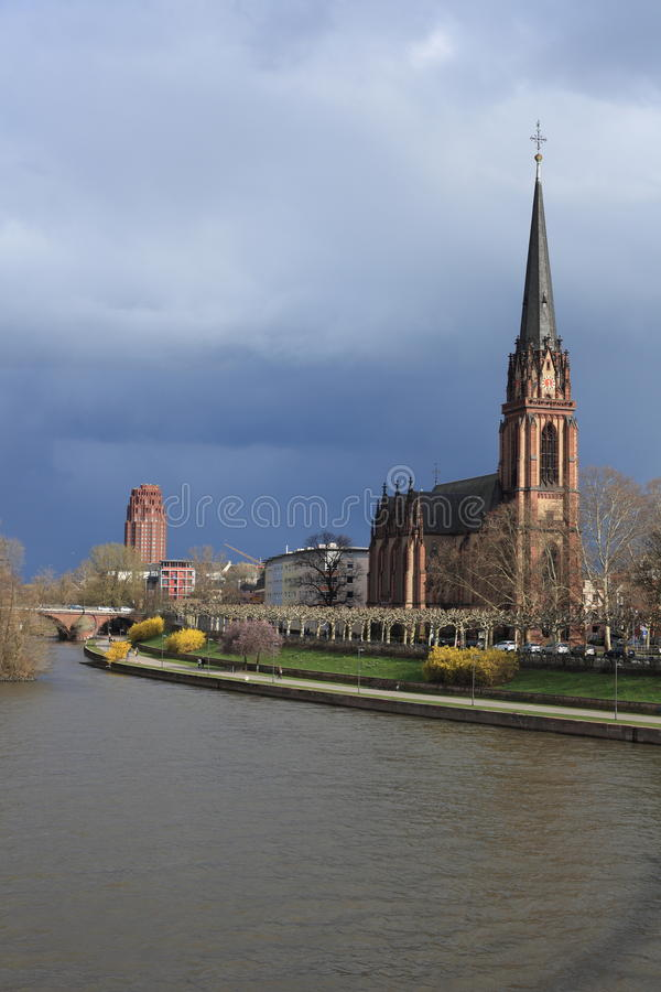The Dreikönigskirche in Frankfurt am Main royalty free stock image