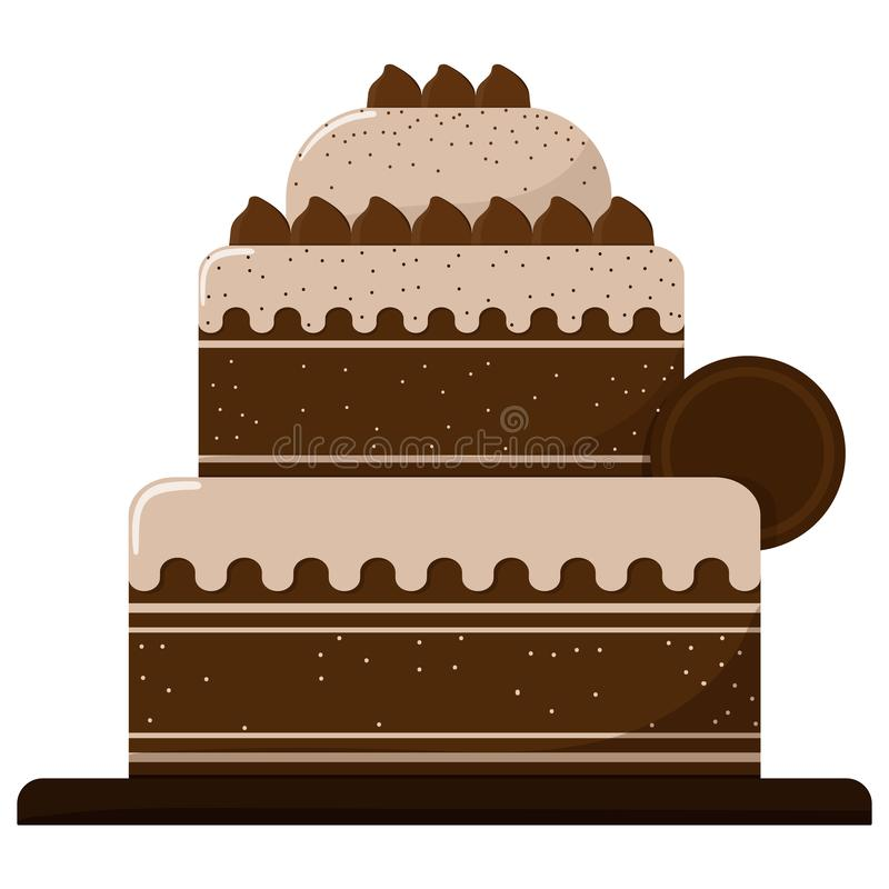Dreistöckiger Kuchen mit der Schokolade lokalisiert auf einem weißen Hintergrund Auch im corel abgehobenen Betrag stock abbildung