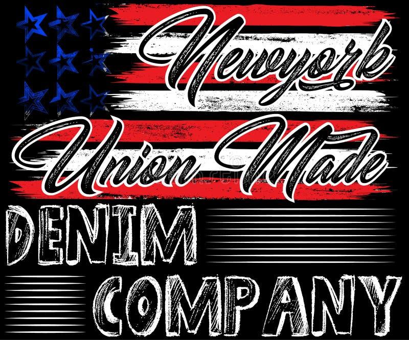 Drelichowa America flaga typografia, koszulek grafika, wektory ilustracja wektor