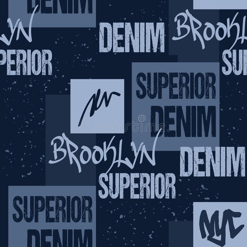 Drelichowa typografia, Brooklyn Nowy Jork grafiki odzież matrycuje Moda cajgów grafika Bezszwowy tkanina wzór dla royalty ilustracja