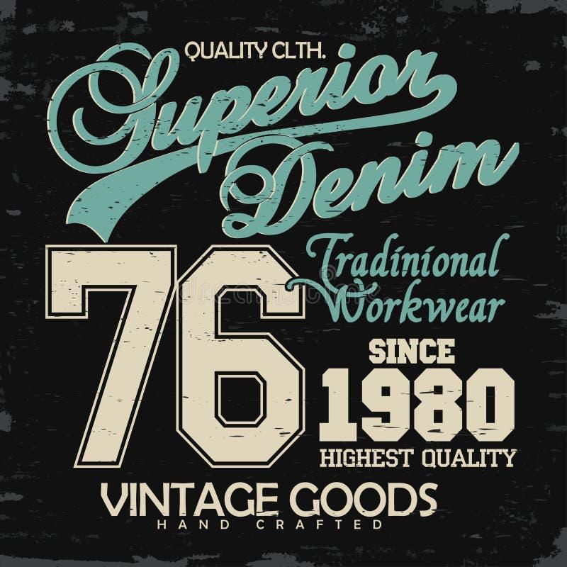 Drelichowa typografia, koszulek grafika royalty ilustracja