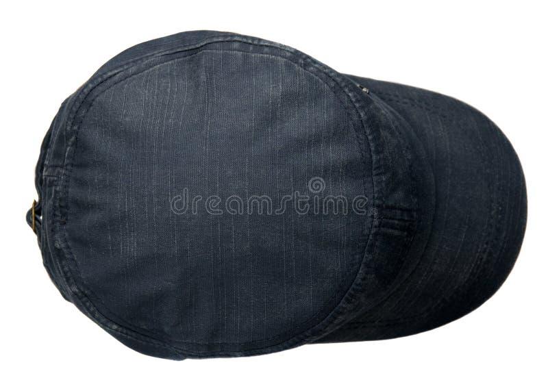 Drelichowy kapelusz odizolowywający na białym tle Kapelusz z naliczkiem błękitny h zdjęcia royalty free
