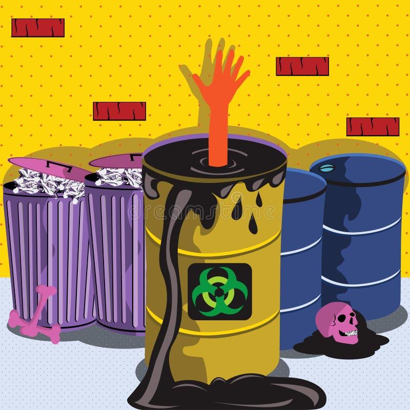 Drenado en barril del biohazard stock de ilustración