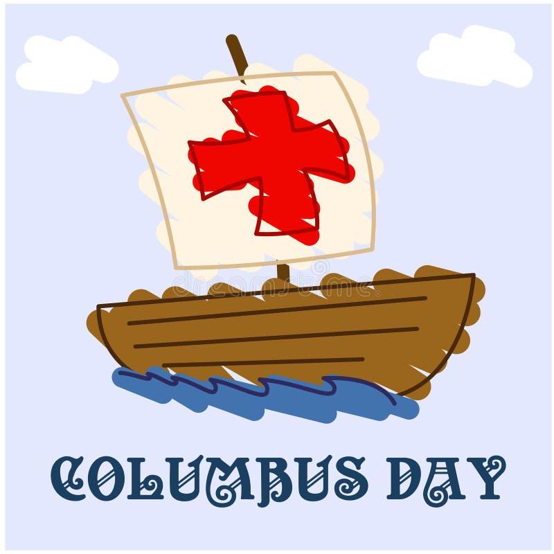 Drenaje clásico feliz de Columbus Day stock de ilustración