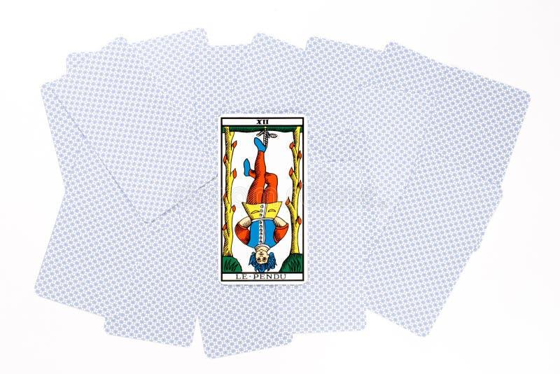 Drenaje colgado carta de tarot fotografía de archivo