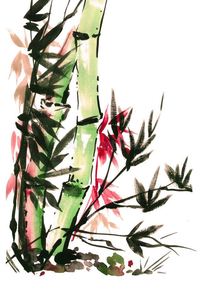 Drenaje de la acuarela del bambú en estilo japonés stock de ilustración