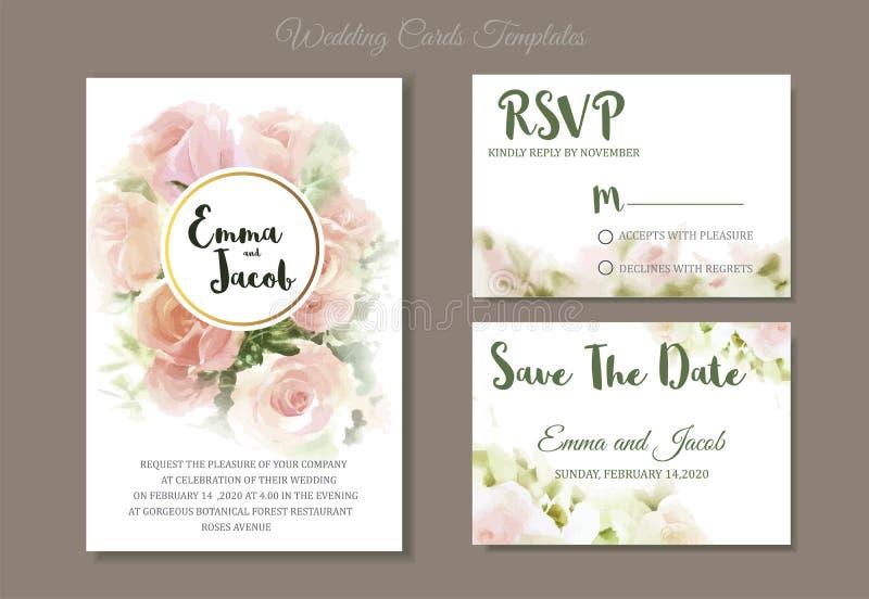 Drenaje de la mano de la acuarela de las rosas del rosa de la invitación de la boda del estilo del vintage ilustración del vector