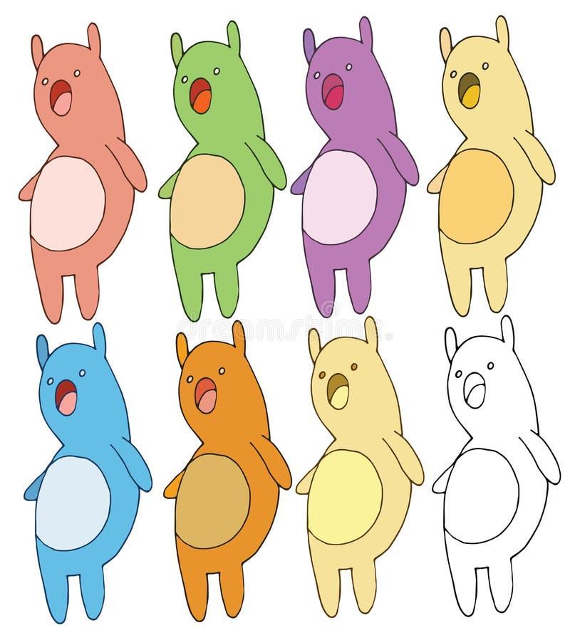 Drenaje de la mano del color del sistema del garabato de la historieta del juguete del niño del animal doméstico de la impresión stock de ilustración