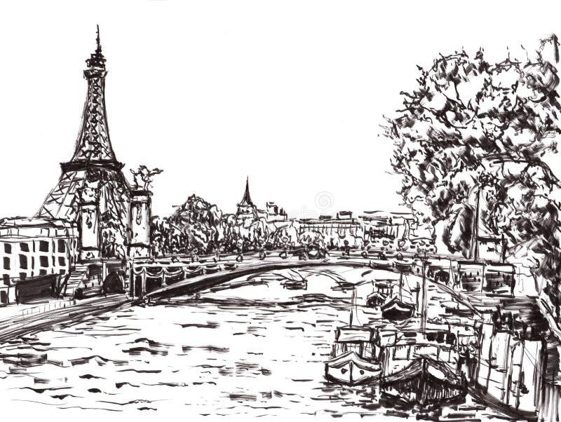 Drenaje de la mano del río de París stock de ilustración