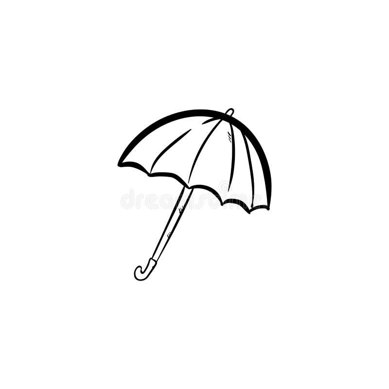 Drenaje de la mano del vector del icono del garabato del paraguas ilustración del vector