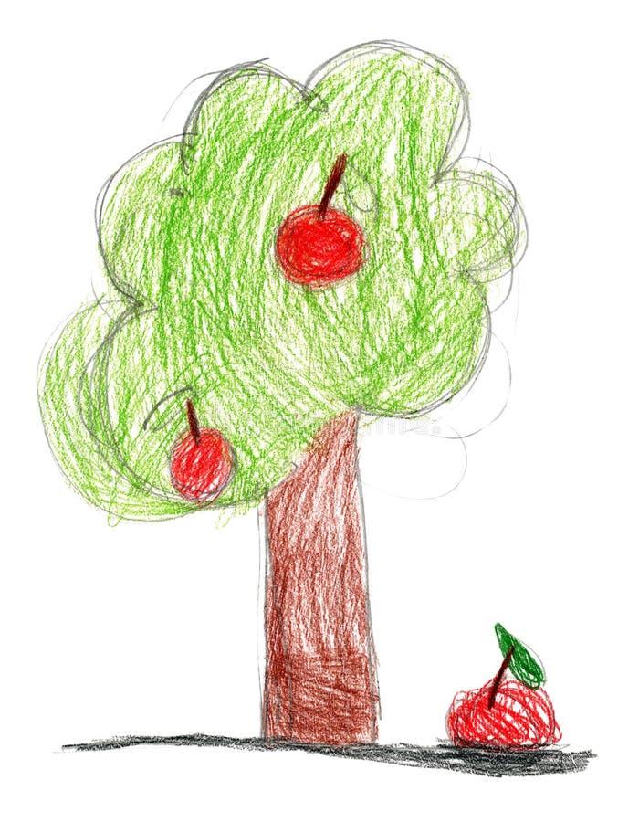 Drenaje de los niños. árbol con la manzana ilustración del vector