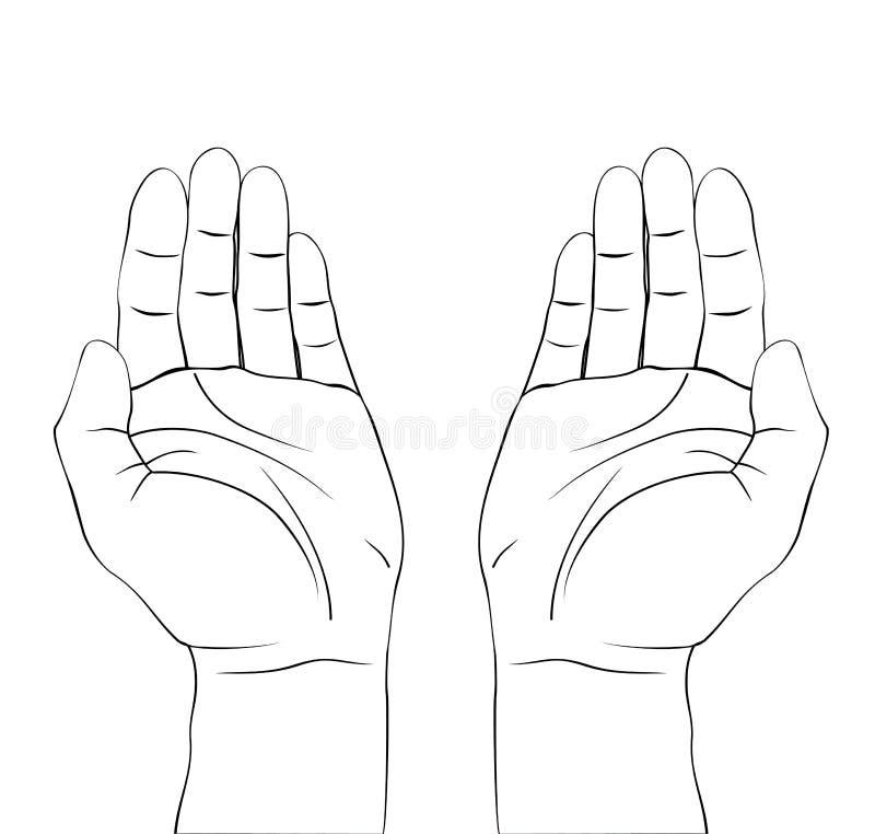 Drenaje del rezo abierto de las manos libre illustration