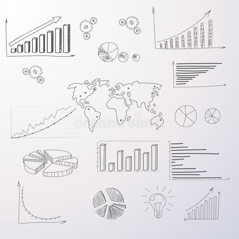 Drenaje determinado de la mano de Infographic del diagrama de las finanzas del gráfico ilustración del vector