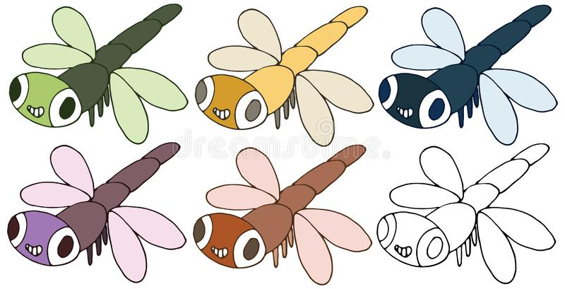 Drenaje divertido feliz de la mano del sistema de color de la libélula del monstruo del garabato de la historieta de la impresión stock de ilustración