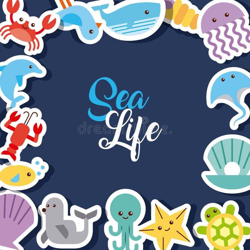 Drenaje plano de la vida marina stock de ilustración