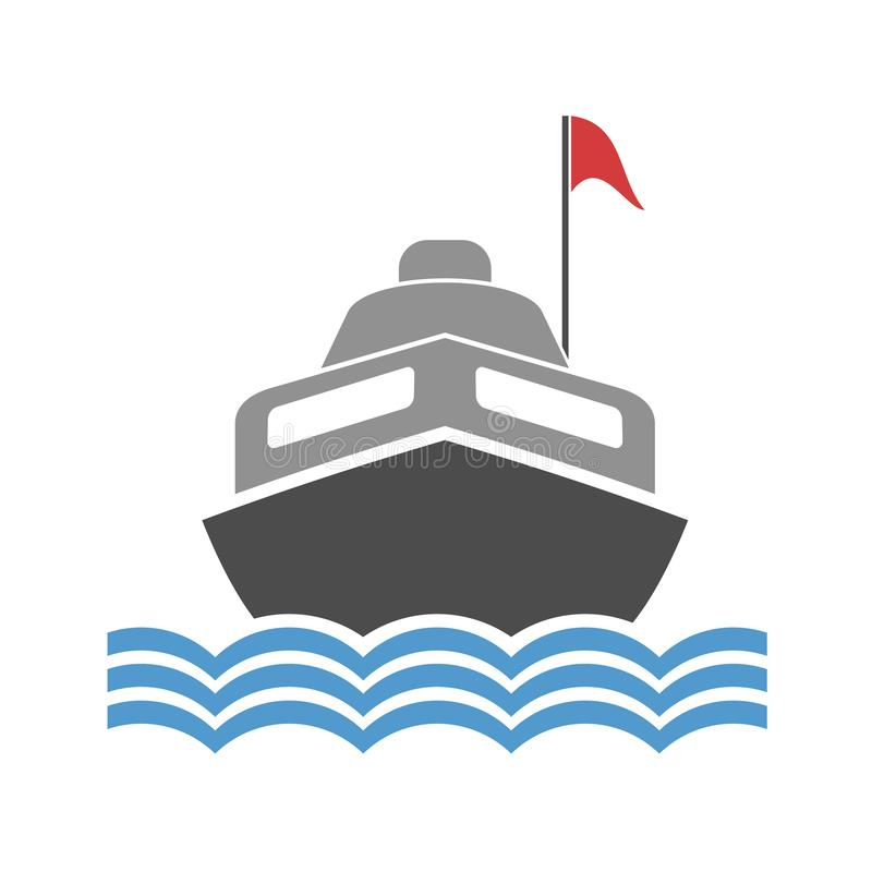 Drenaje plano del barco de motor stock de ilustración