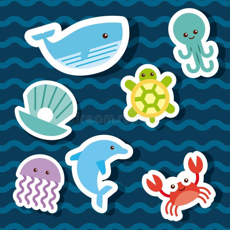 Drenaje plano fijado iconos de la vida marina libre illustration