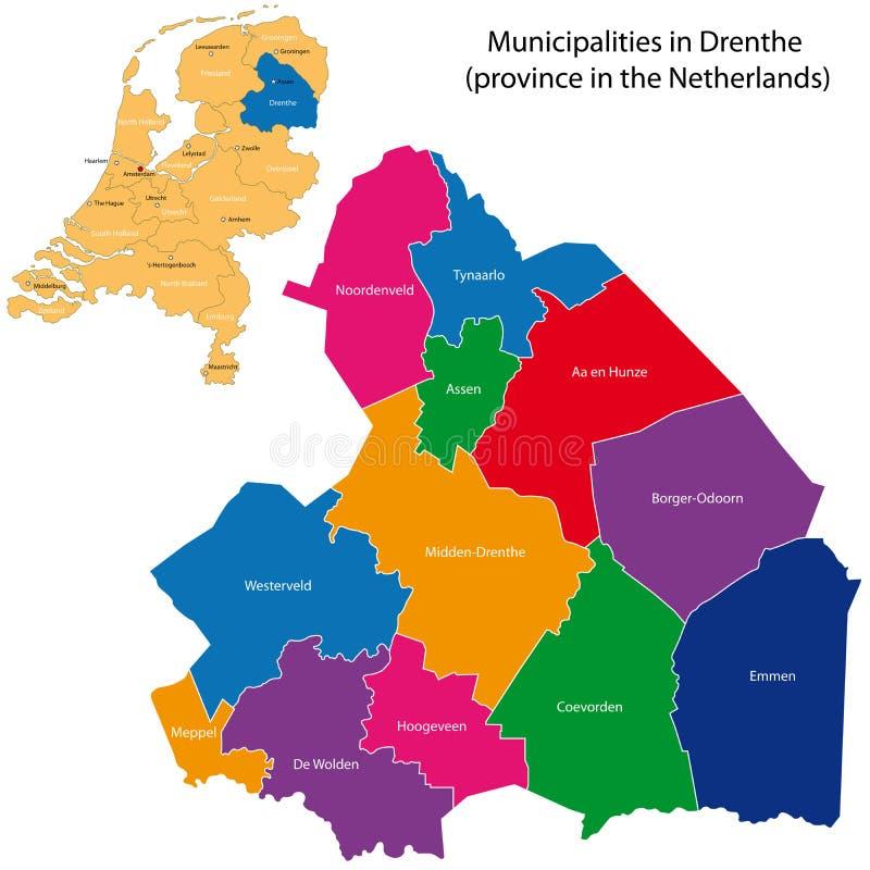 Drenthe - provincie van Nederland vector illustratie