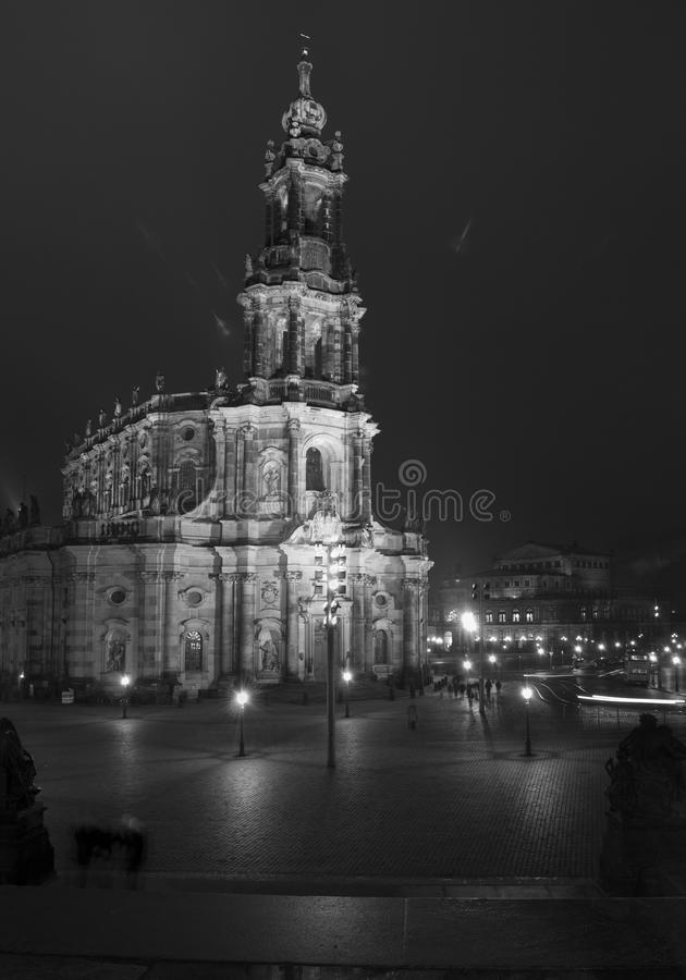 Dresda nella notte fotografie stock