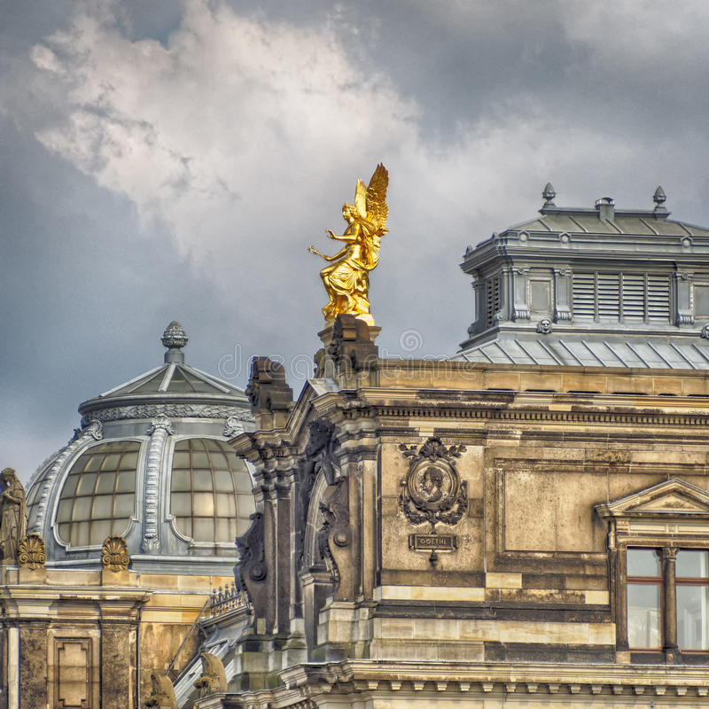 Dresden Academy of Arts roof, Saxony Germany. Angel on Dresden Academy of Arts roof, Saxony Germany stock images