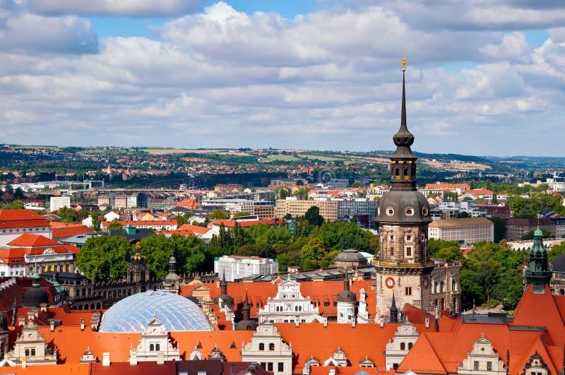 Dresden, areial mening van Frauenkirsche stock foto