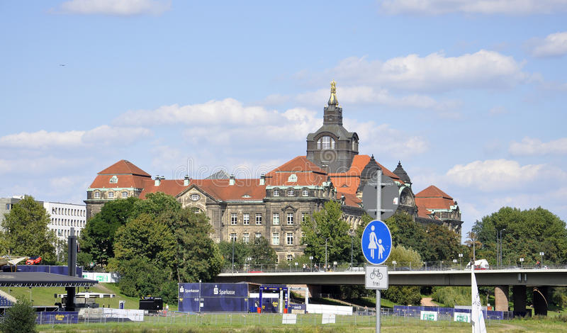 Dresden,august 28:Elbe River Panorama from Dresden in Germany royalty free stock images
