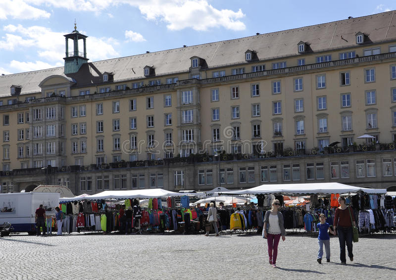Dresden,August 28:Market Place from Dresden in Germany stock images