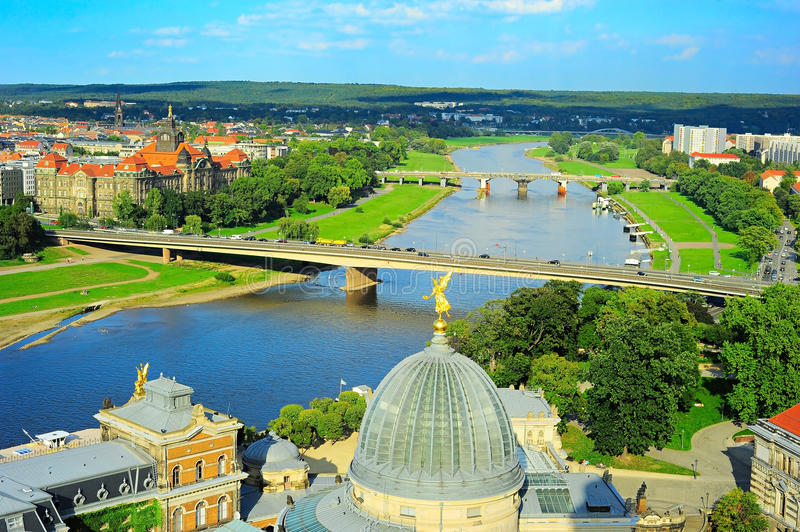 Dresden bridges, Germany. Aerial view to Elbe river from Frauenkirche. Dresden, Germany royalty free stock image