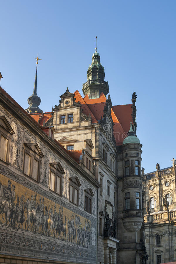 Dresden Castle and Procession of Princes, Germany royalty free stock image
