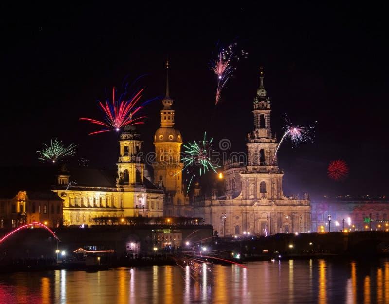 Dresden Fyrverkerier Arkivfoton