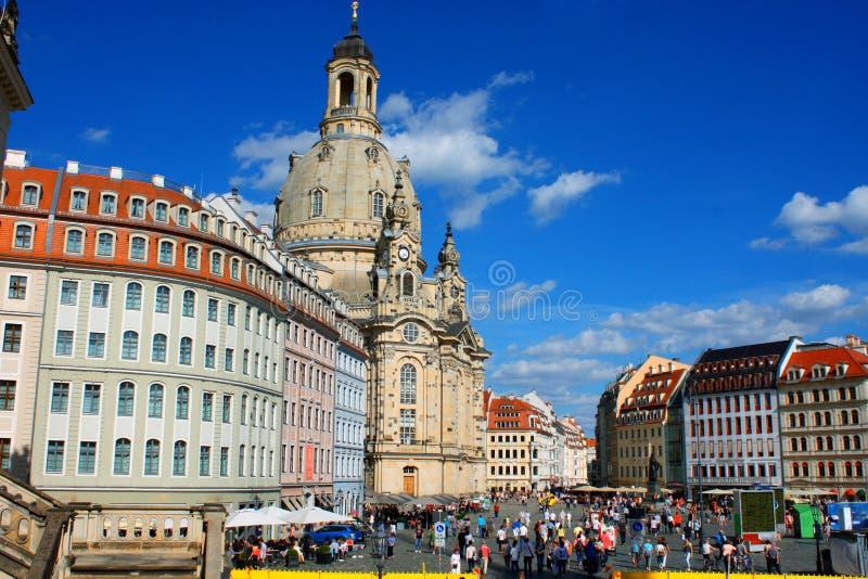 dresden German Frauenkirche w antycznym mieście Dresda, cześć fotografia stock