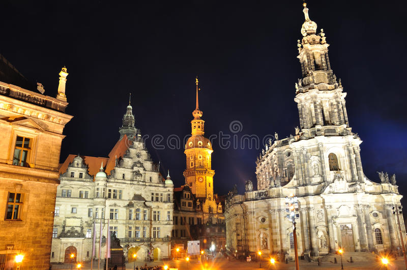 Dresden, Germany. Residenz and Kathorische Hofkirche at night in Dresden, Germany royalty free stock image