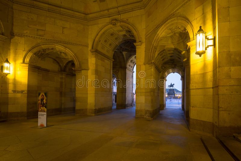 Dresden, Germany - April 19, 2019: Beautiful architecture of the Zwinger palace in Dresden ad dusk, Saxony. Germany royalty free stock images