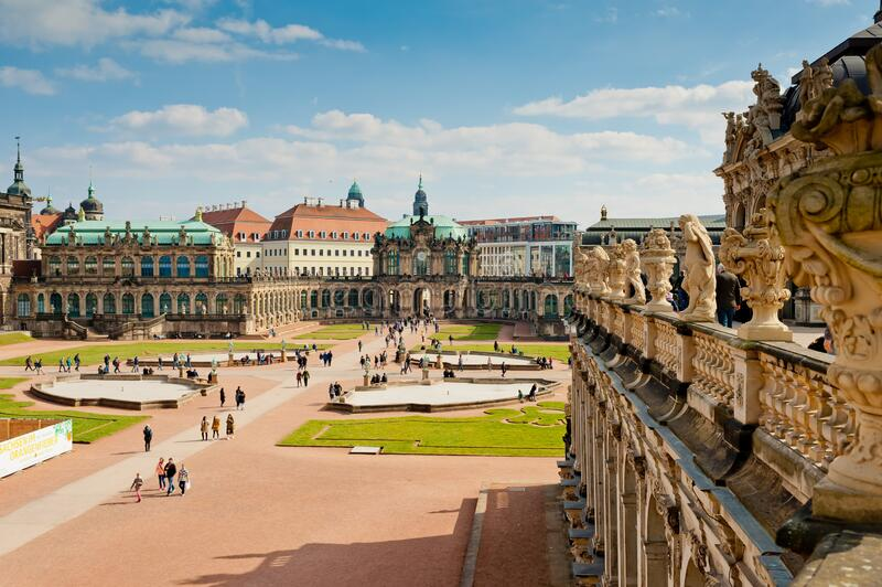 Dresden, Germany - April 02, 2018: Famous Zwinger palace. Urban royalty free stock photography